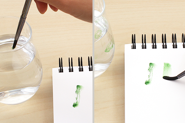 Touch your brush or nib to water for smoother-writing paint.