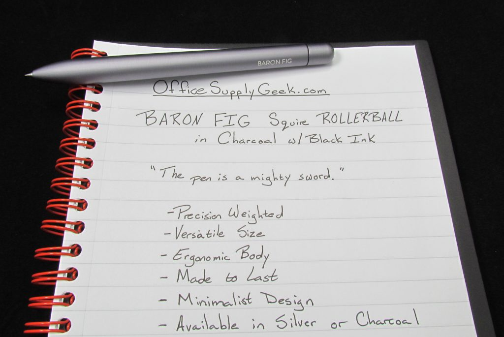 Baron Fig Squire Charcoal Writing Sample