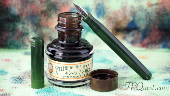 Franklin-Christoph Model 20 Vintage Green with a broad stub nib and Athena Sepia Ink bottle