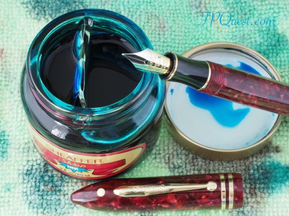Sheaffer Balance II (Crimson Glow) with Sheaffer Peacock Blue bottle