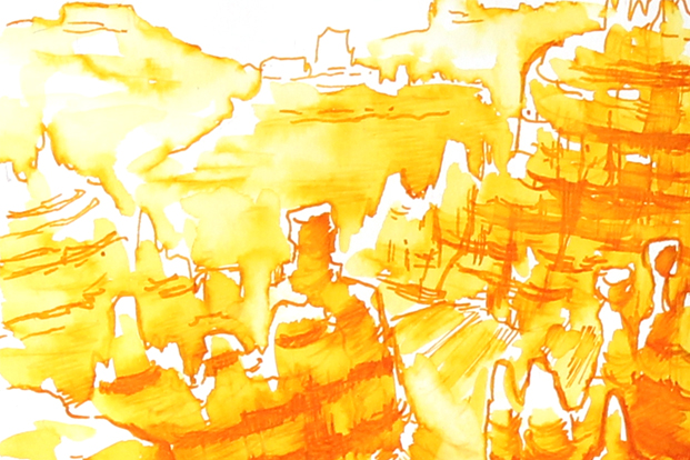 Art made with Noodler's Apache Sunset