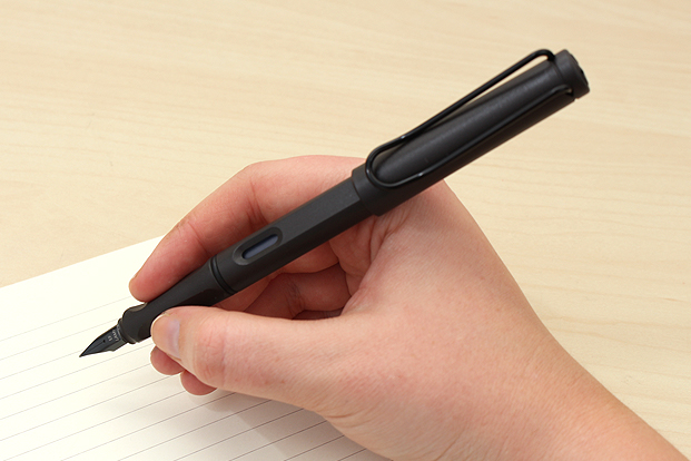The Lamy Safari writes well and helps you use a tripod grip.