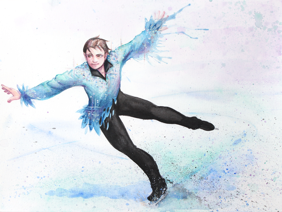 We used every technique in this article to paint this figure skater.