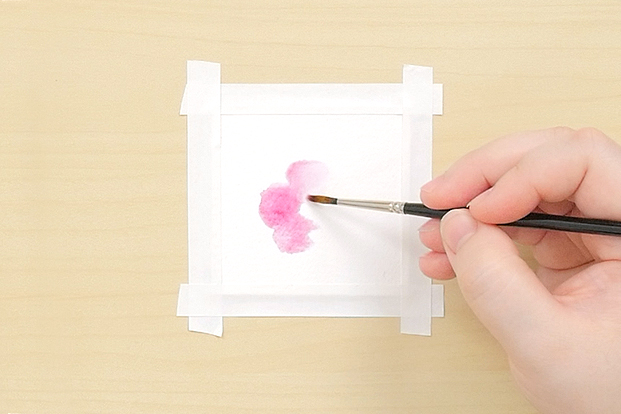Use thin paint on dry paper to make clean shapes.