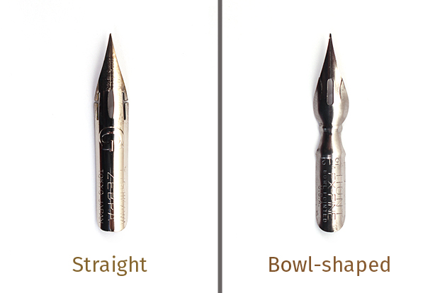 Use bowl-shaped nibs instead of straight models to regulate ink flow.