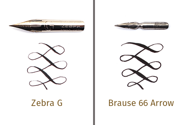 Flexible nibs like the Brause 66 Arrow can achieve more line variation than stiffer nibs.