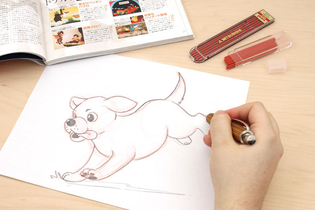 Animation sketch with blue lead