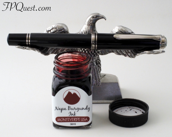 Pelikan M805 Stresemann (EF) with Monteverde Napa Burgundy bottle