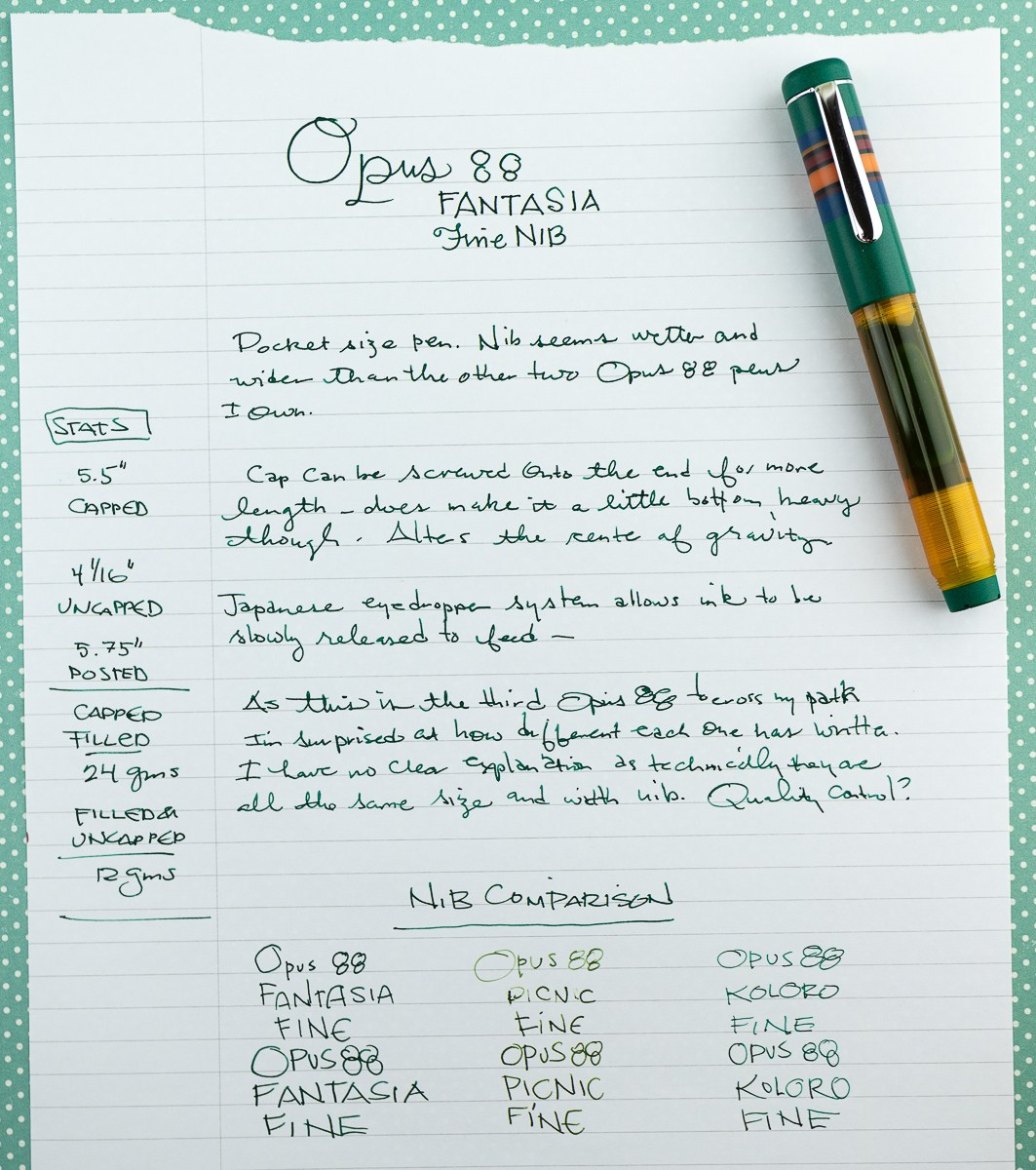 Opus 88 Fantasia Green Orange Fountain Pen Writing Sample