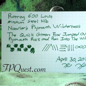 Rotring 600 Lava medium nib with Noodler's Plymouth Wilderness Writing Sample